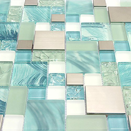 Hand Painted Ocean Blue Glass Tiles Silver Kitchen Mosaic Backsplash Stainless Steel Tile Crackle Chips Aqua Glass White Sheets Bathroom Wall Materials [Pack of 11PCS(11.8x11.8x0.31 Inches/each)] by AEENC