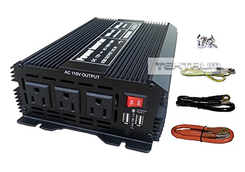 Tektrum 1500W Power Inverter 12V DC to 110V AC, 3 AC Outlets, 2 USB Ports, Intelligent Cooling Fan, Battery Cables Best for Computer, Laptop, Fan, TV, mini-Fridge, Window A/C, Smart Phone by Tektrum (Image #6)