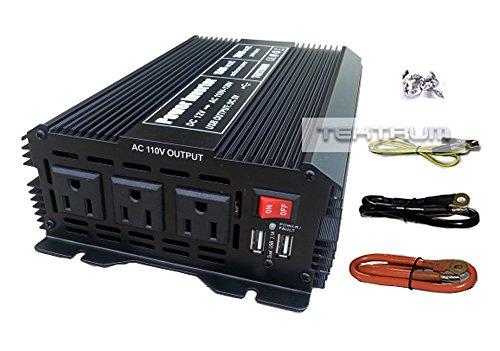 Tektrum 1500W Power Inverter 12V DC to 110V AC, 3 AC Outlets, 2 USB Ports, Intelligent Cooling Fan, Battery Cables Best for Computer, Laptop, Fan, TV, mini-Fridge, Window A/C, Smart Phone by Tektrum