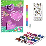 SMITCO Girls Diary Set - Pink Heart Journal Book with Stickers and Pencil for 5 to 10 Year Old Kids