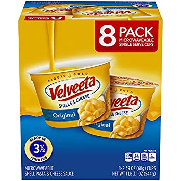 Velveeta Shells & Cheese Pasta, Original, Single Serve Microwave Cups, 8 Count