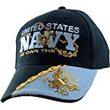 "United States Navy ""We OWN the Seas"" Name Logo Military Armed Forces Embroidered Hat - Blue Navy Adjustable Buckle Closure Cap, Adjustable"