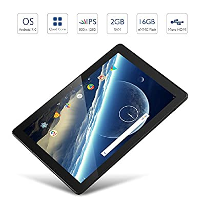 Dragon Touch X10 Tablet 10.1 inch Android Tablet 2GB RAM 16GB Nand Flash Android 7.0 Nougat, 10 Inch Quad Core 800x1280 IPS Display with Micro HDMI Slot