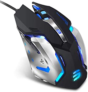 LENRUE V1 Gaming Mouse Wired, Ergonomic Computer Mice with 6 Programmable Buttons, 4 Circular & Breathing LED Light, 4 Adjustable DPI Up to 2400 for PC Mac Laptop and Gamer