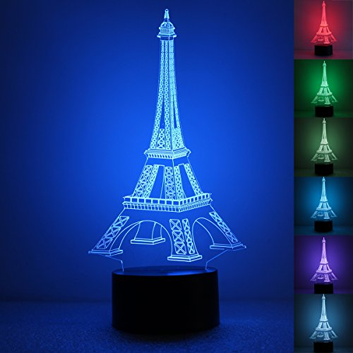 LadyMoney 3D Optical Illusion Lamp Visual Gift Effiel Tower Desk Night Light for Christmas Decor 7 Colors Change with Touch Button 3D Lamp Christams LED Night Light]()