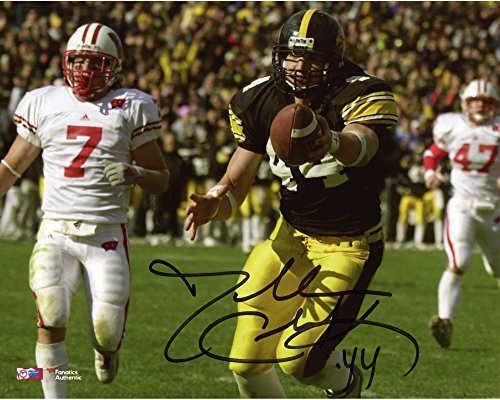 Dallas Clark Iowa Hawkeyes Autographed 8  X 10  Holding Out Ball Photograph   Fanatics Authentic Certified