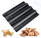 ilauke Baguette Baking Tray Perforated French Stick Loaf Baking Molds Pan for 4 Baguettes
