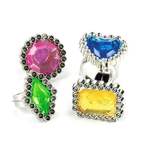 Dozen Rhinestone - Fun Express Colorful Rhinestone Rings, 2 Packs (12 Dozen)