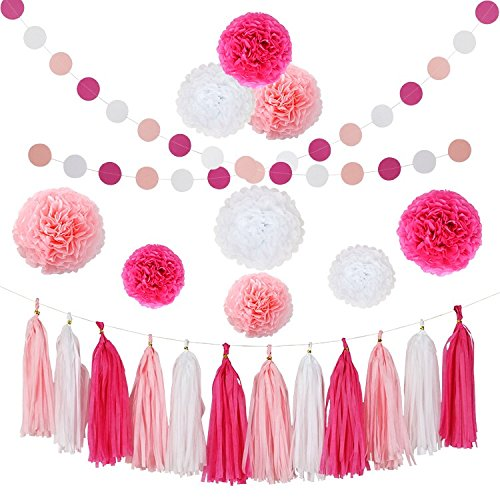 CHOTIKA Tissue Flowers Pom Pom Poms Party Girl Paper Decorations First Birthday Girl Tassel Paper Baby Shower Decorations (Rose-Pink-White)