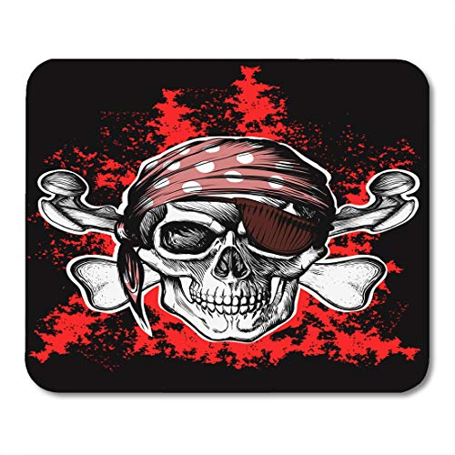 """Price comparison product image Boszina Mouse Pads Battle Crossbones Jolly Roger Pirate Symbol with Crossed Daggers on The Black and Red Skull Bones Mouse Pad for notebooks,Desktop Computers mats 9.5"""" x 7.9"""" Office Supplies"""