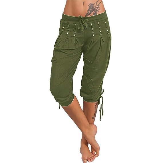 Luckycat Pantalones Capri para Mujer Pantalones Baggy Color ...