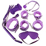 Zcargel 7pcs Fetish Bondage Set Bed Restraint Trainer Complete Gear Cuffs Shackles Whiff Cuff Open Mouth Gag Whip Rope Great Bdsm Sm Game Tool for My Sweat Heart~ Sexy Purple