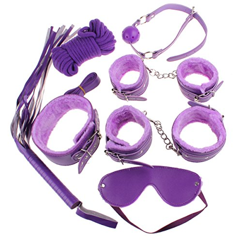 Zcargel 7pcs Fetish Bondage Set Bed Restraint Trainer Complete Gear Cuffs Shackles Whiff Cuff Open Mouth Gag Whip Rope Great Bdsm Sm Game Tool for My Sweat Heart~ Sexy Purple by Zcargel