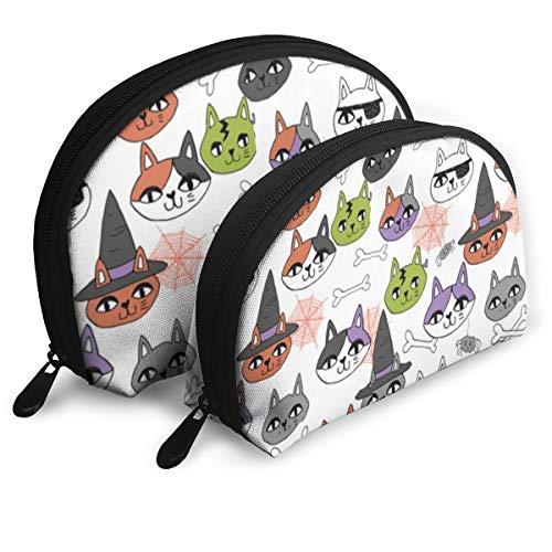 OLOSARO Cosmetic Bag Cute Halloween Cat Travel Makeup Pencil Pen Case Multifunction Storage Portable - 2 Piece Set ()