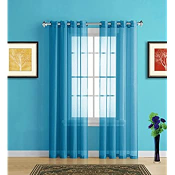Warm Home Designs Blue Teal Sheer Window Curtains With Grommet Top For Bedroom Kitchen Kids Room Or Living 2 Voile Panel Drapes 54 Inch By 84