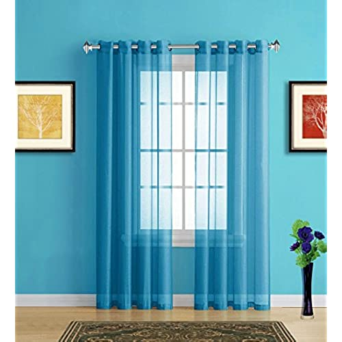 Aqua Kitchen Curtains: Amazon.com