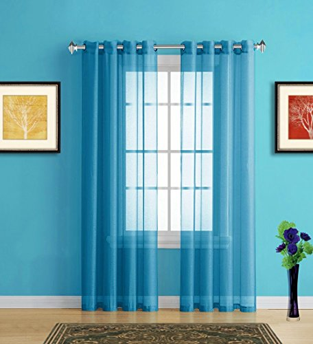Warm Home Designs Pair of 2 Longer Size 54quot Width x 95quot Length Blue Teal Turquoise Sheer Window Curtains 2 Elegant Voile Panel Drapes are 108 Inch Wide Total  K Teal 95quot