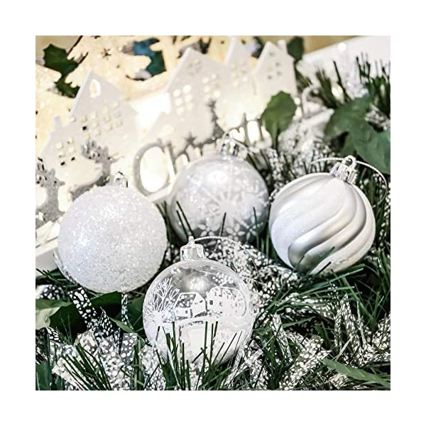 Victor's Workshop Addobbi Natalizi 24 Pezzi 6cm Palle di Natale, Frozen Winter Silver e White Shatterproof Christmas Ball Ornaments Decoration for Christmas Tree Decor 6 spesavip