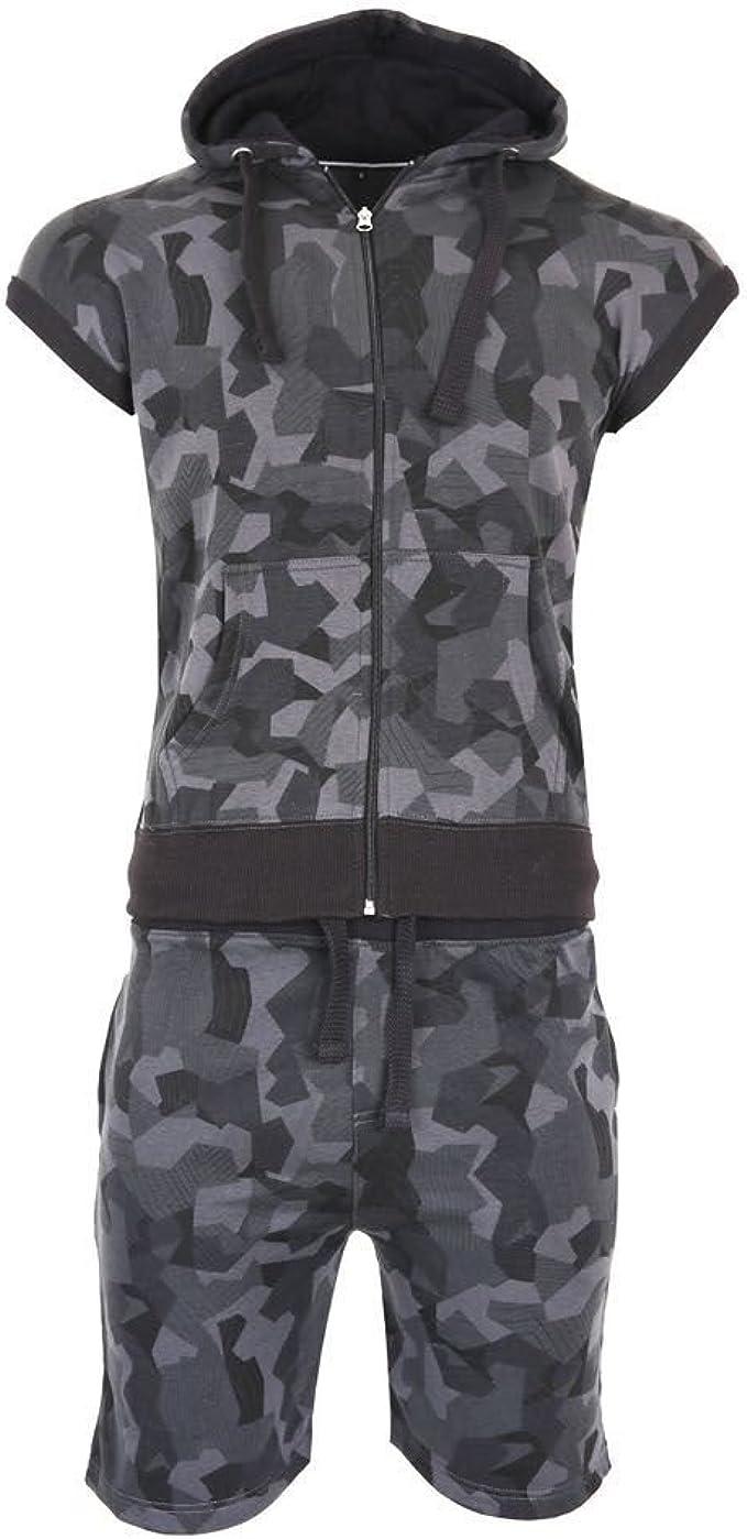 Men/'s Camouflage Jogging Set Sleeveless Hood Zipper Gillet Short Cord Tracksuit