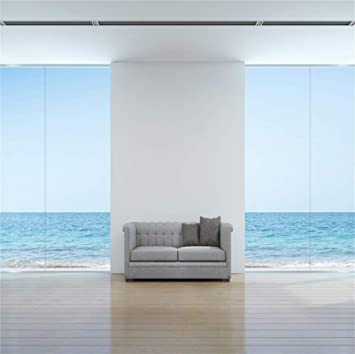 CSFOTO Interior Room Decoration Backdrop 8x6.5ft Background for Photography Living Room Hotel Decor Sea View Room Tropical Sea French Window Sofa Modern Style Kids Adults Portraits Wallpaper