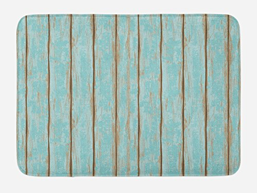 Lunarable Wood Print Bath Mat, Old Fashioned Weathered Rustic Planks Summer Cottage Beach Coastal Theme, Plush Bathroom Decor Mat with Non Slip Backing, 29.5 W X 17.5 W Inches, Pale Blue Tan