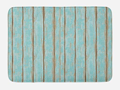 (Lunarable Wood Print Bath Mat, Old Fashioned Weathered Rustic Planks Summer Cottage Beach Coastal Theme, Plush Bathroom Decor Mat with Non Slip Backing, 29.5
