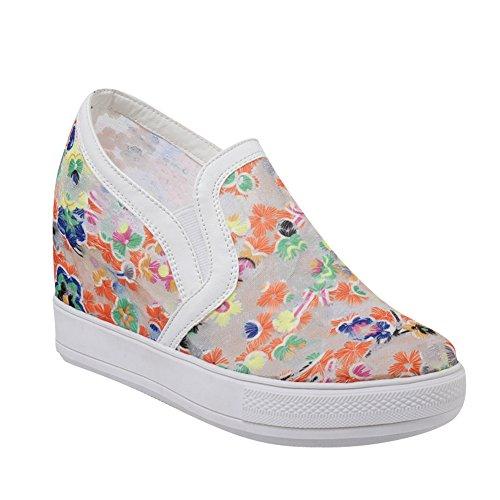 Charm Foot Womens Floral Slip on Wedges Shoes Orange ( Main Color) 3rtCAvDk8E