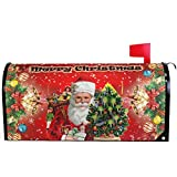 Merry Christmas Tree Santa Claus Snowman Snowflake Mailbox Cover Magnetic Standard Size,Holiday Winter Red Poinsettia Letter Post Box Cover Wrap Decoration Welcome Home Garden Outdoor 21' Lx 18' W