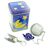 Stainless Steel Mesh Tea Ball with Teapot Shaped Polyresin Figure, a Tea Caddy, and a Tin Canister (Blue, Capacity: 50g (Approx. 1.8 ounces))
