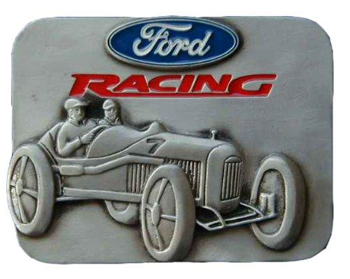 Ford Racing Belt Buckle - Ford Racing Vintage Roadster Colored Novelty Belt Buckle