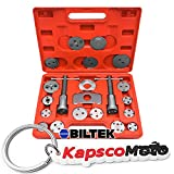 Biltek 22Pc Disc Brake Caliper Piston Wind Back Tool 4WD 4x4 SUV Maintenance Hand Tool + KapscoMoto Keychain