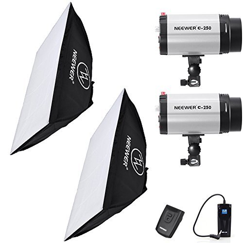 """Neewer 500W(250W x 2) 5600K Photography Studio Flash Strobe Light Lighting Kit with (2)20x28""""/50x70cm softbox &(1)RT-16 Trigger for Video Shooting,Location and Portrait Photography"""