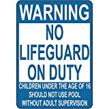 Warning No Lifeguard On Duty Children Not Use Pool 12X18 Aluminum Metal Sign
