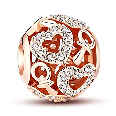 Glamulet Clear Crystal Rose Gold Hearts Charms 925 Sterling Silver Bead for Bracelet from Glamulet