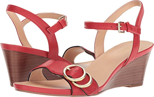 Red Leather Wedge (Franco Sarto Women's Dusty Apple Red/Black 8.5 M US)