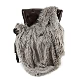 faux fur throw  Super Soft Faux Fur Throw Blanket & Bedspread Mongolian Fur Blanket Long Faux Fur Blanket Decorative for Bedroom Sofa Floor MT779-A-light Grey