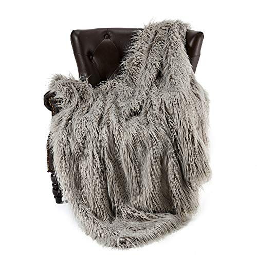 Super Soft Faux Fur Throw Blanket & Bedspread Mongolian Fur Blanket Long Faux Fur Blanket Decorative for Bedroom Sofa Floor MT779-A-light Grey