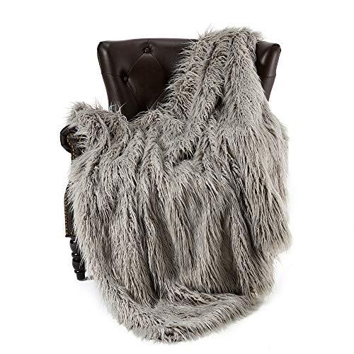 FFLMYUHUL I U Super Soft Faux Fur Throw Blanket & Bedspread Mongolian Fur Blanket Long Faux Fur Blanket Decorative for Bedroom Sofa Floor MT779-A-light Grey (Throws Fur Real)