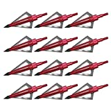 12 Pcs Red 125 Grain 3 Fixed Blade Broadhead for Crossbow and Compound