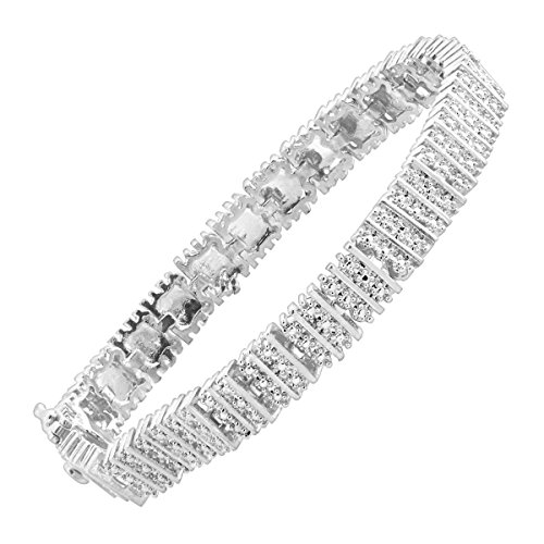 Square Link Tennis Bracelet with Diamonds in Sterling Silver-Plated Brass - Rectangular Diamond Set