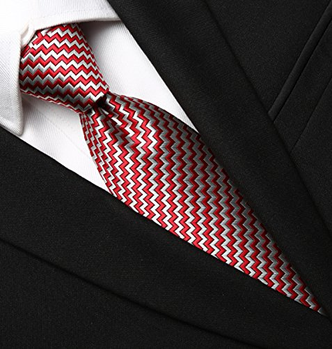 KissTies+Plaid+Necktie+Checked+Extra+Long+Tie+in+Gift+Box%2C+Red+Silver+Grey+%2863%27%27+XL%29