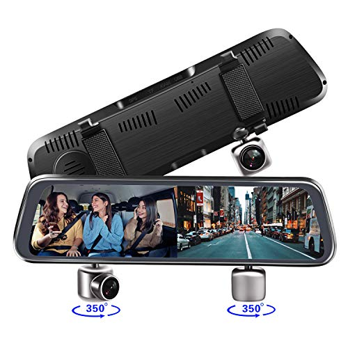 Mirror Dash Cam, 10 Inch 2-Split Full Touch Screen Dual Lens 350° Rotating Front 1080P Inside 720P with Parking Monitor,G-Sensor,Night Vision, Dash Camera for Cars Uber Lyft Truck Taxi