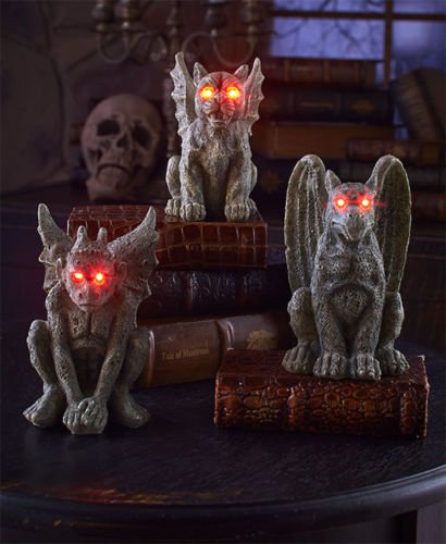Phantomx Set of 3 Lighted Realistic Gargoyles Spooky Haunted House Party (Lighted Pom Poms)