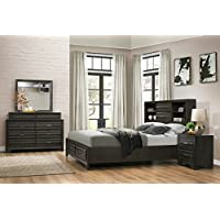 Roundhill Furniture Loiret 236 Antique Grey Bed Room Set/King Storage Bed/Dresser/Mirror/Night Stand