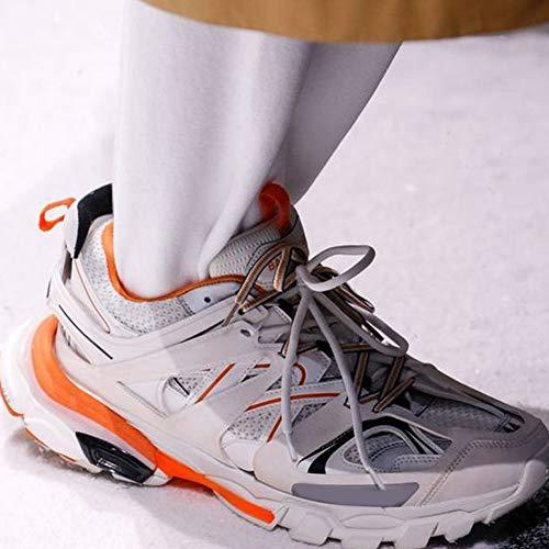 Malla Deporte Color Transpirable Cordones Zapatillas Blanco Lujo De Exterior Con Caminando Cuero Mujeres Correr Mezclado Patchwork Partido Las wAEqXfv