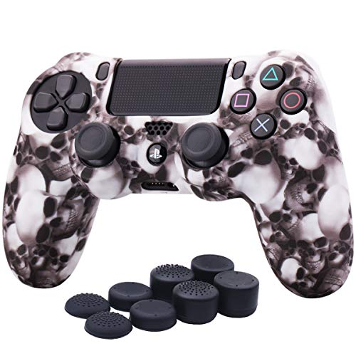 YoRHa Water Transfer Printing Skull Silicone Cover Skin Case for Sony PS4/slim/Pro Dualshock 4 controller x 1(white) With Pro thumb grips x 8