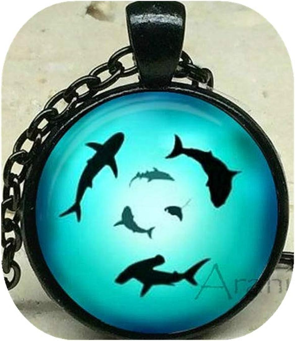 Circling sharks art pendant, shark necklace, shark pendant, shark jewelry, shark, ocean necklace, shark week pendant, Pendant #AN234P