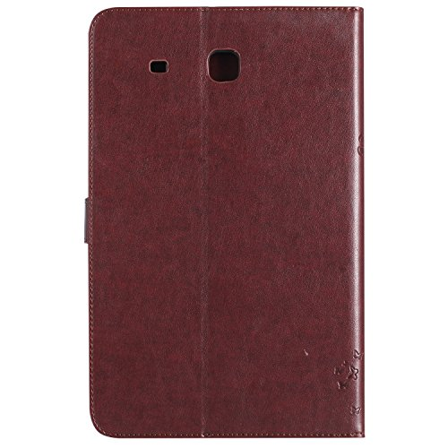 Samsung Galaxy Tab E 9.6 Case, BONROY® Samsung Galaxy Tab E SM-T560 9.6 Smart Case Cover Girl and Cat pattern series Ultra Slim Smart-shell Built-in Stand Auto Wake/Sleep For Samsung Galaxy Tab E SM-T Cats and tree - brown