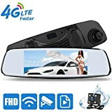 Mirror Dash Cam, Smart 4G Android Mirror Cam with 32G Card, DONGKER 7.0'' HD Touch Screen Full HD 1080P Mirror Camera for Car with GPS,G-sensor, WIFI, Bluetooth, Video, Music Play, FM.