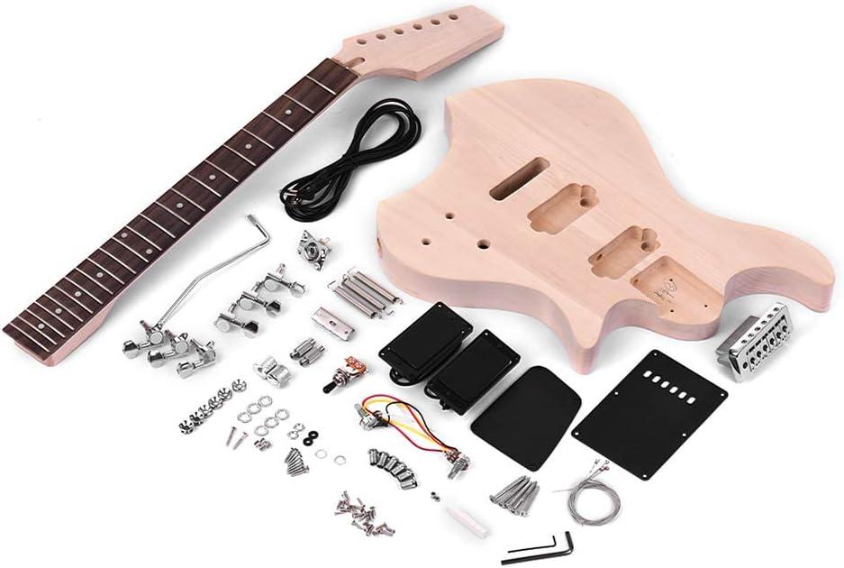 Muslady Kit de guitare électrique bricolage inachevé Corps en bois de tilleul manche en bois de palissandre
